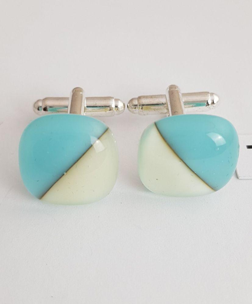 Turquoise and vanilla semaphore cufflinks