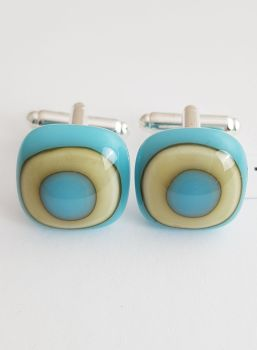 Turquoise and vanilla art deco cufflinks