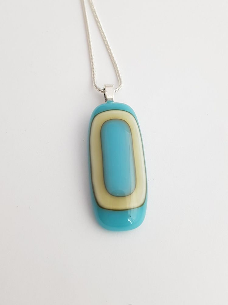 Turquoise and vanilla art deco pendant