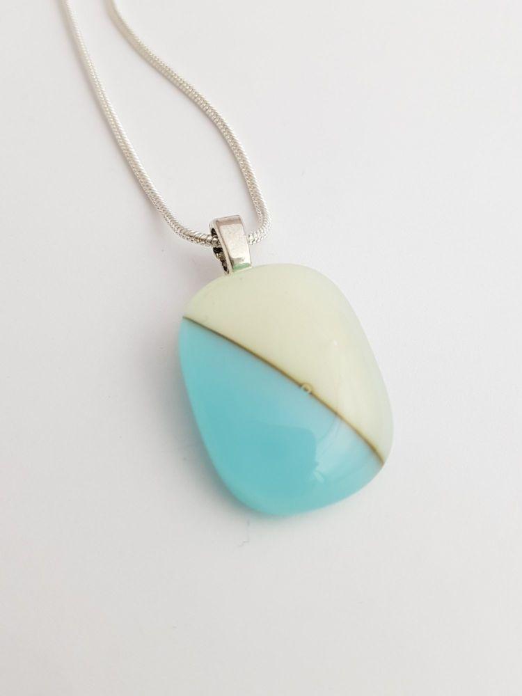Turquoise and vanilla semaphore pendant