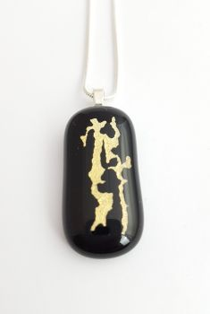 Mica - black with gold mica pendant