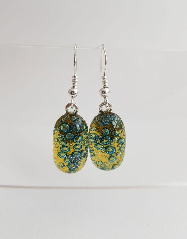 Amber yellow bubbles drop earrings