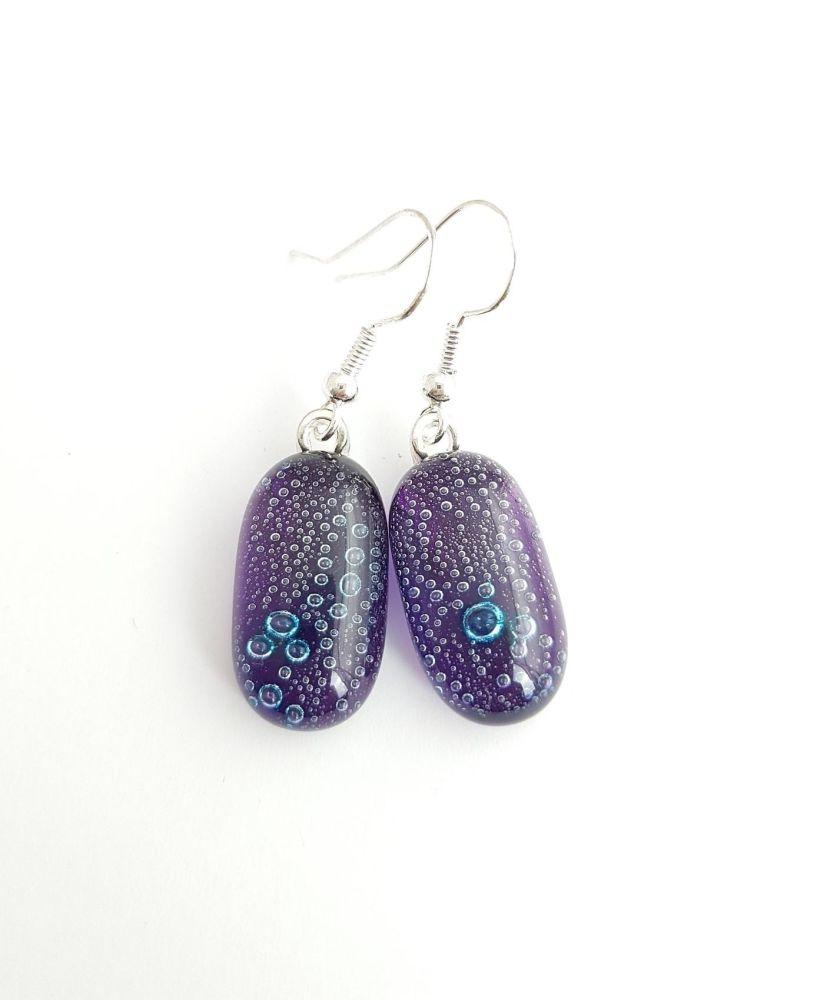 Purple bubbles drop earrings