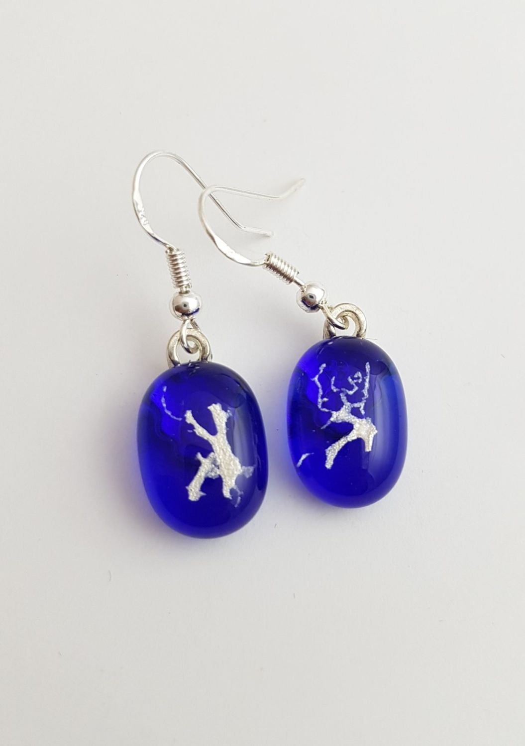 Mica - Cobalt blue with silver mica drop earrings