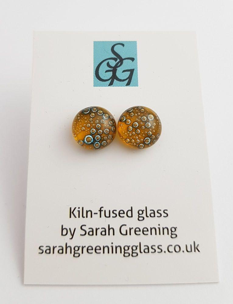 Amber yellow bubbles stud earrings