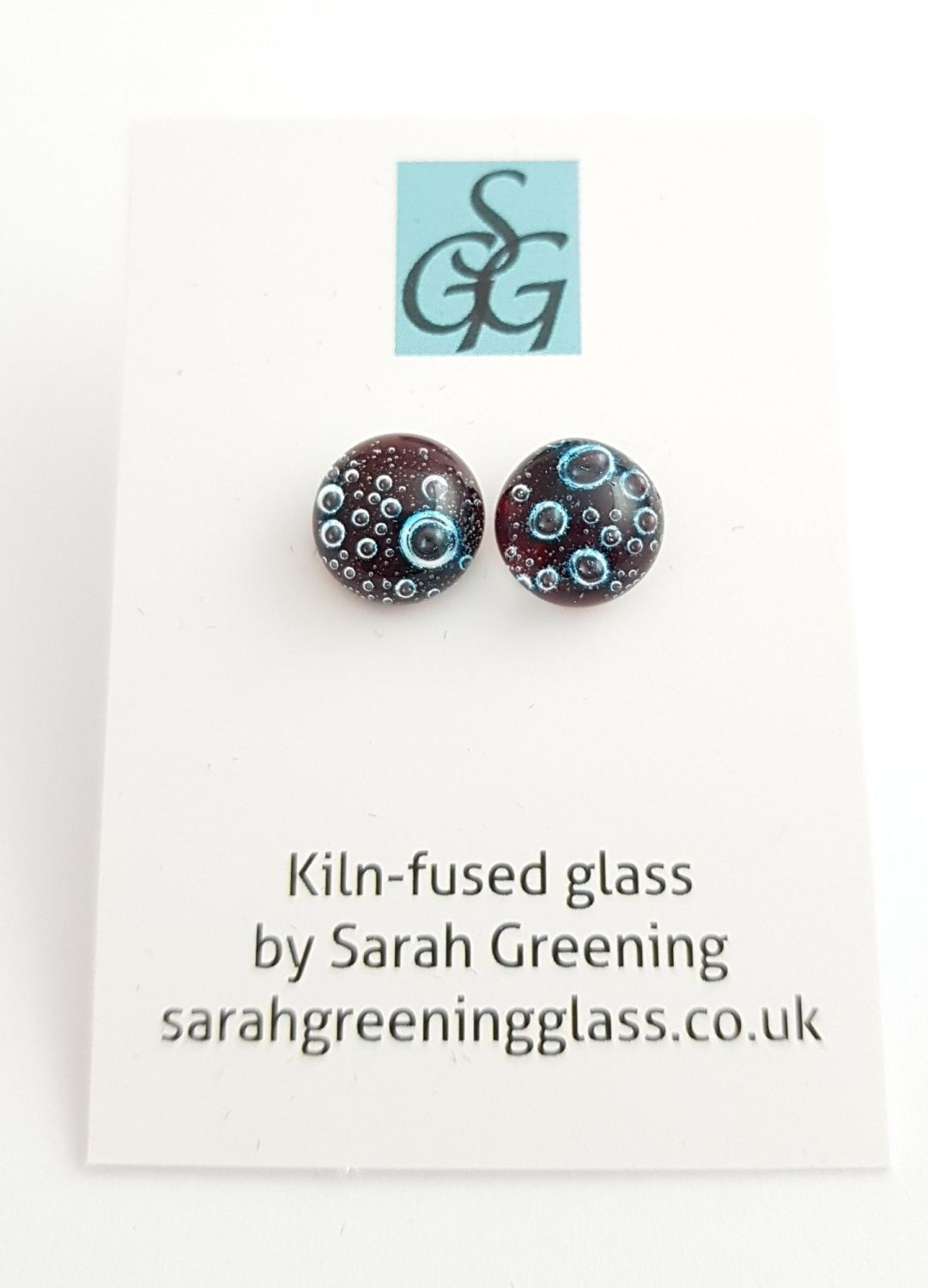 Garnet red bubbles stud earrings