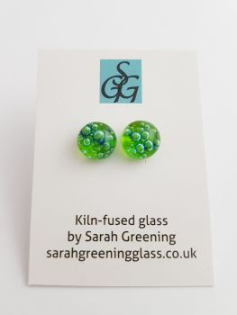 Bubbles - Lime green bubbles stud earrings