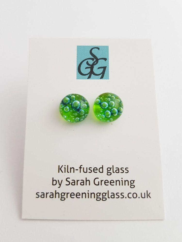 Lime green bubbles stud earrings