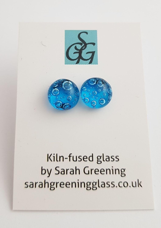 Turquoise blue bubbles stud earrings