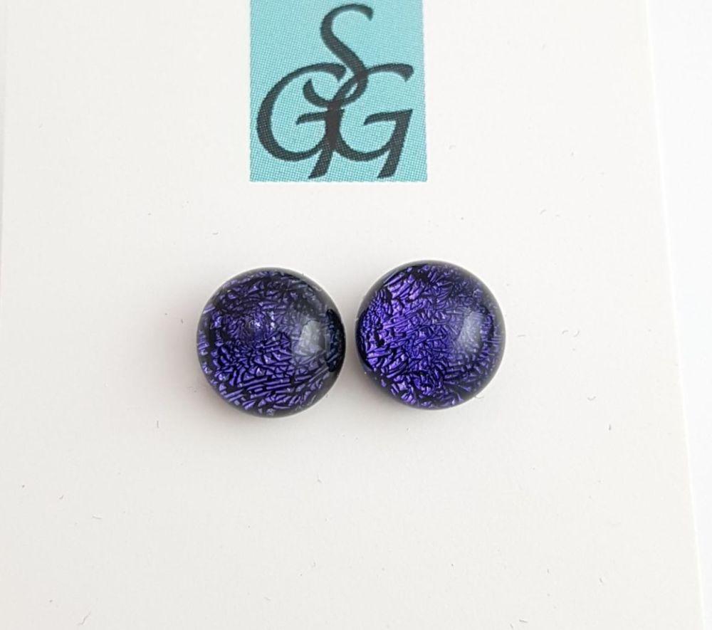 Dichroic - purple sparkly stud earrings