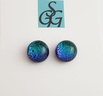 Dichroic - peacock sparkly stud earrings