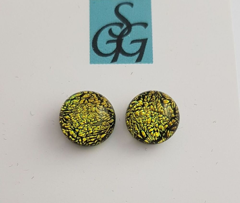Dichroic - gold sparkly stud earrings