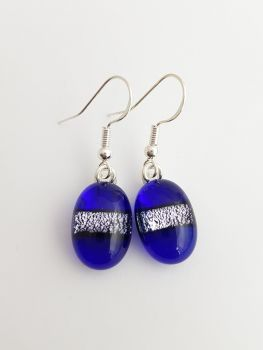 Dichroic stripe - Cobalt blue with silver sparkly stripe drop earrings