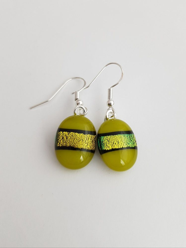 Dichroic stripe - Green with gold sparkly stripe drop earrings
