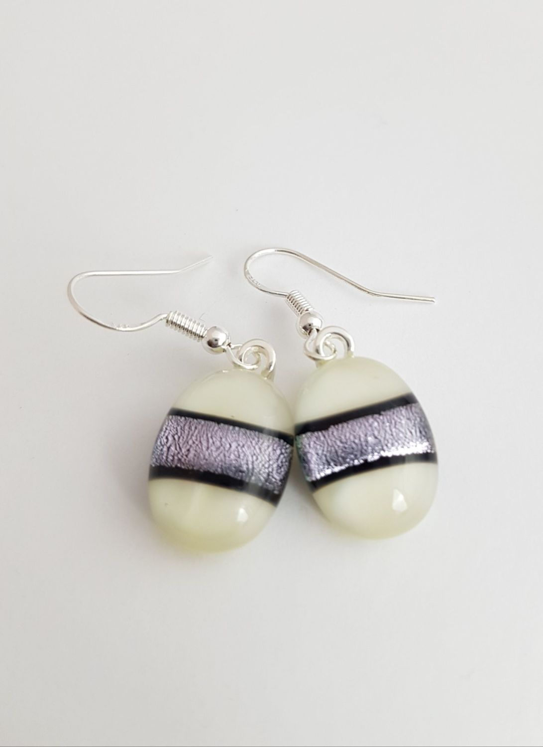 Dichroic stripe - Ivory with silver sparkly stripe drop earrings