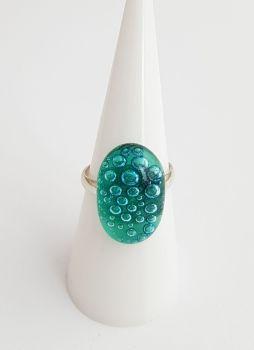 Bubbles - Emerald green bubbles ring