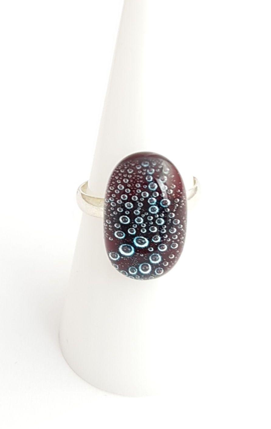 Garnet red bubbles ring