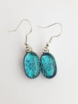 Dichroic - Cyan blue dichroic sparkly drop earrings