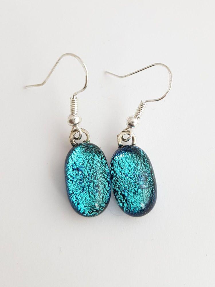 Cyan blue dichroic sparkly drop earrings