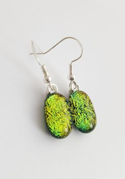 Dichroic - Gold/green dichroic sparkly drop earrings
