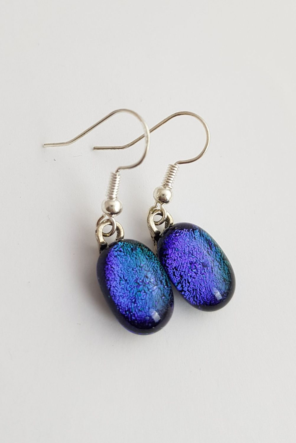 Peacock blue dichroic sparkly drop earrings