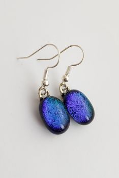Dichroic - Peacock blue dichroic sparkly drop earrings