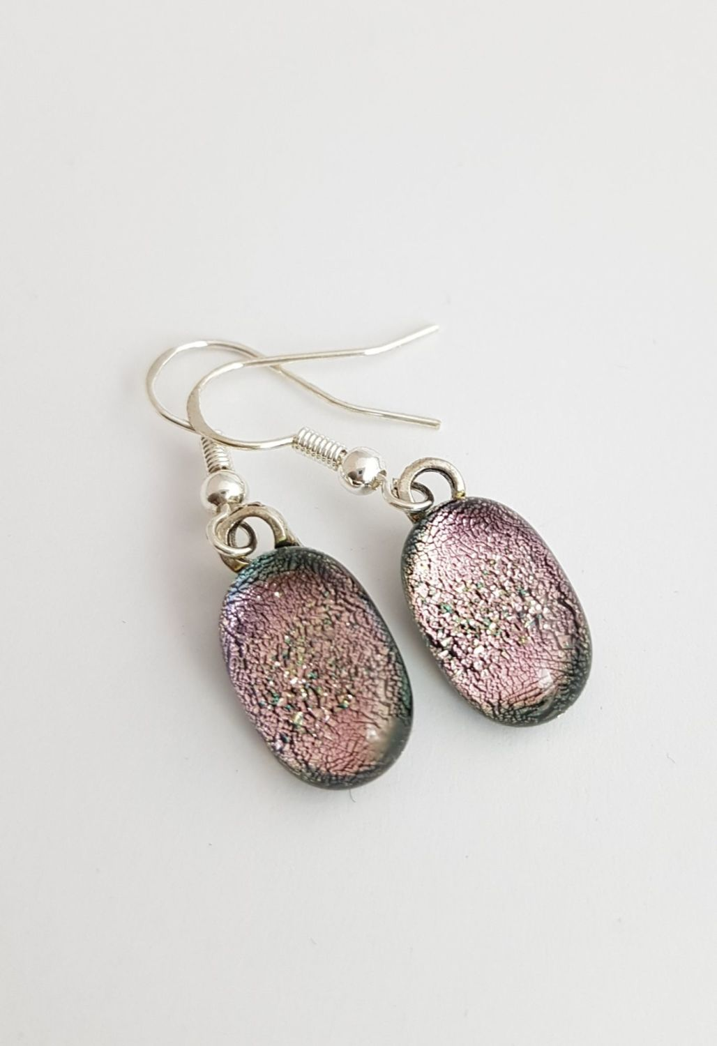 Pink dichroic sparkly drop earrings