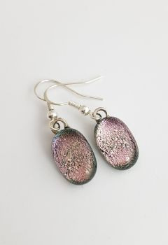 Dichroic - Pink dichroic sparkly drop earrings