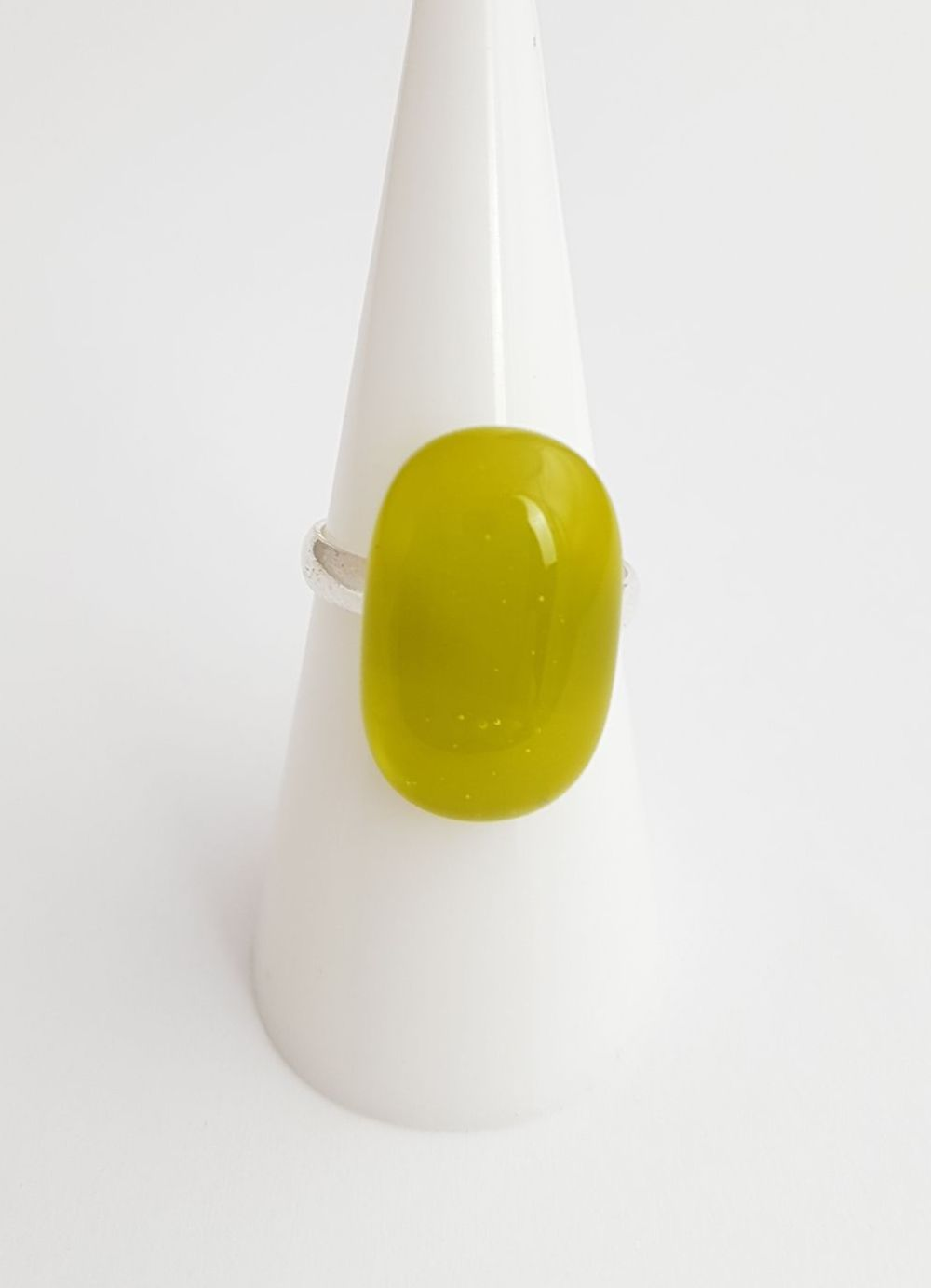 Avocado green glass ring
