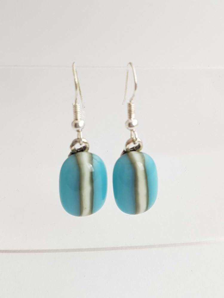 Turquoise and vanilla pebble drop earrings
