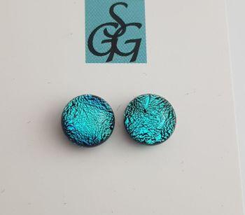 Dichroic - cyan blue sparkly stud earrings