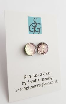 Dichroic - silver pink sparkly stud earrings