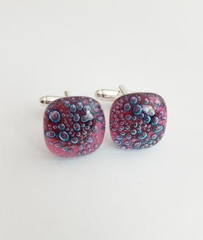 Bubbles - Cherry pink bubbles cufflinks