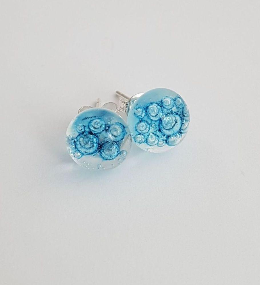 Bubbles - Clear blue bubbles stud earrings
