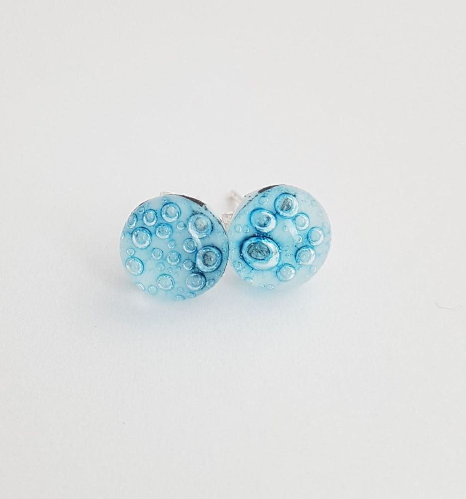 Bubbles - White with blue bubbles stud earrings