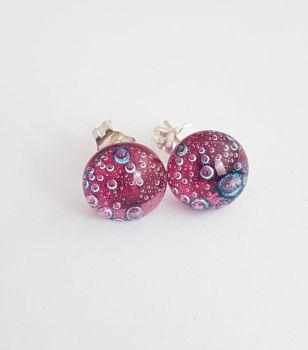 Bubbles - Cherry pink bubbles stud earrings
