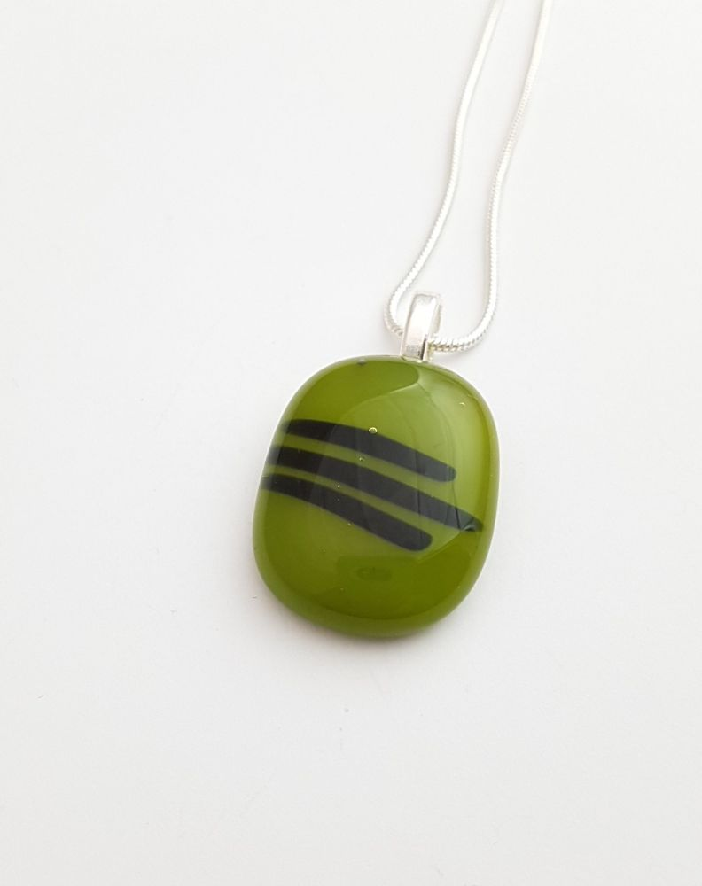 Avocado green pendant with black stripes