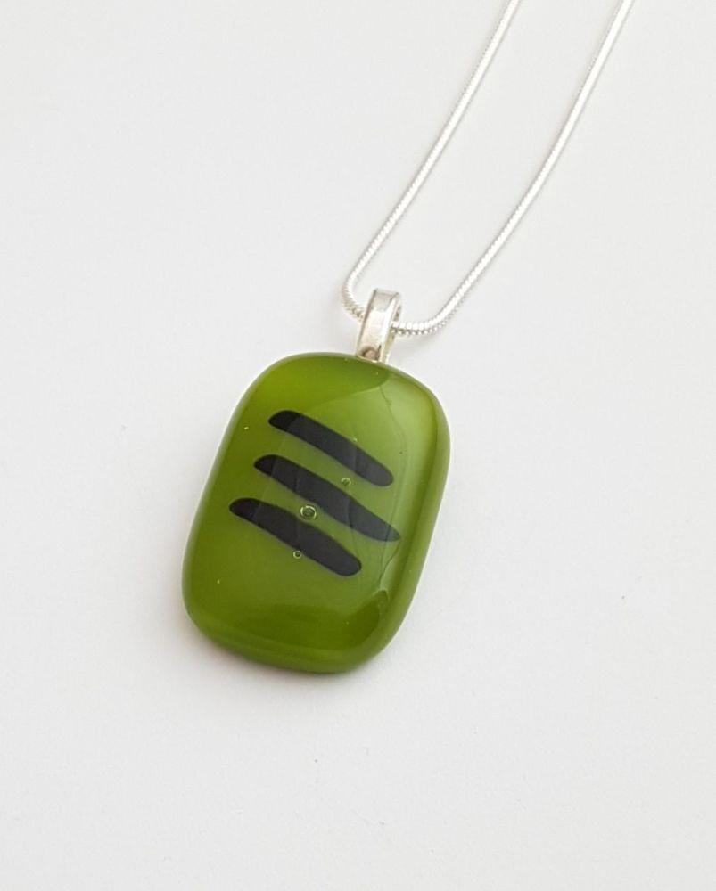 Avocado green pendant with black stripes