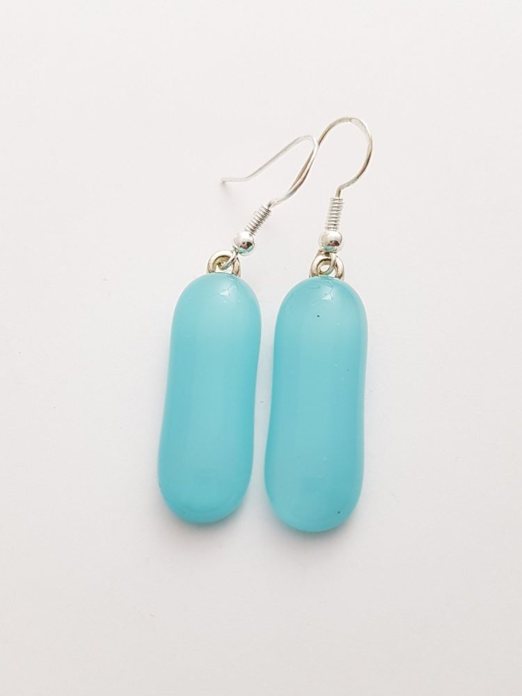 Turquoise blue oblong earrings