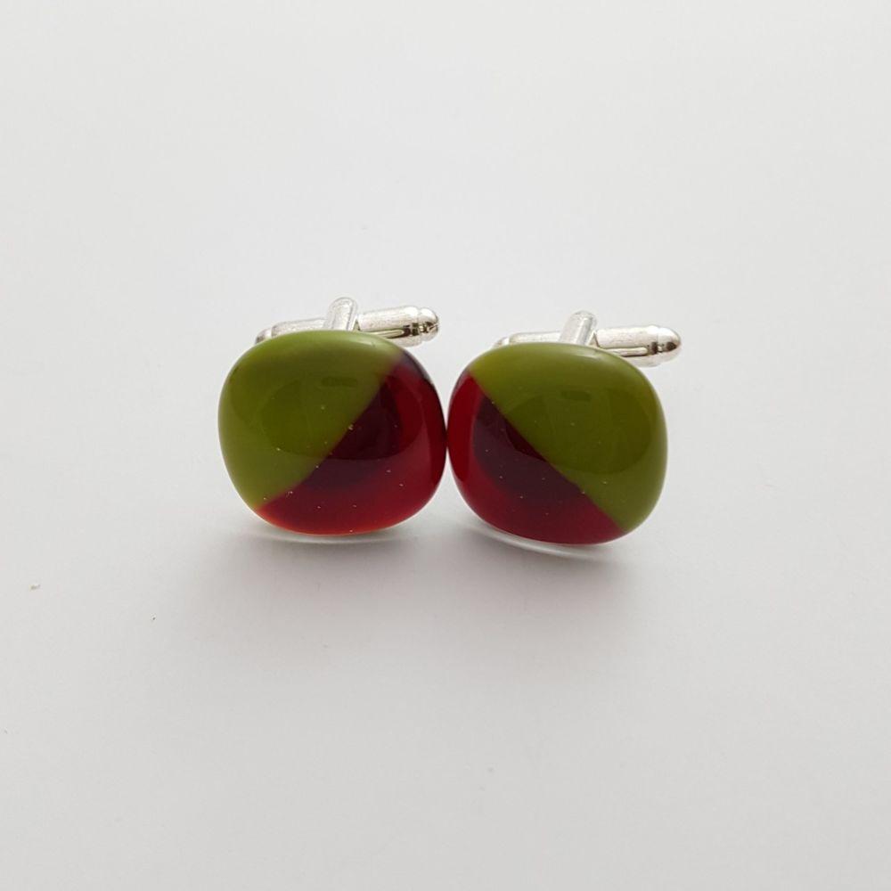 Garnet red and avocado green cufflinks