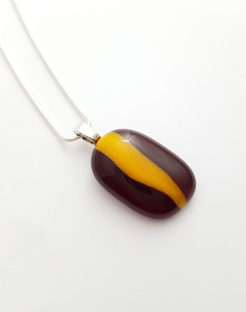 Garnet red and orange pebble pendant