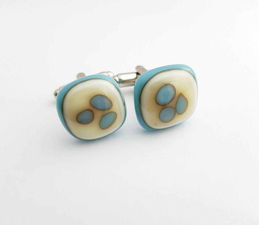 Turquoise and vanilla granules cufflinks