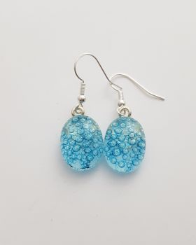 Bubbles - Clear blue bubbles drop earrings
