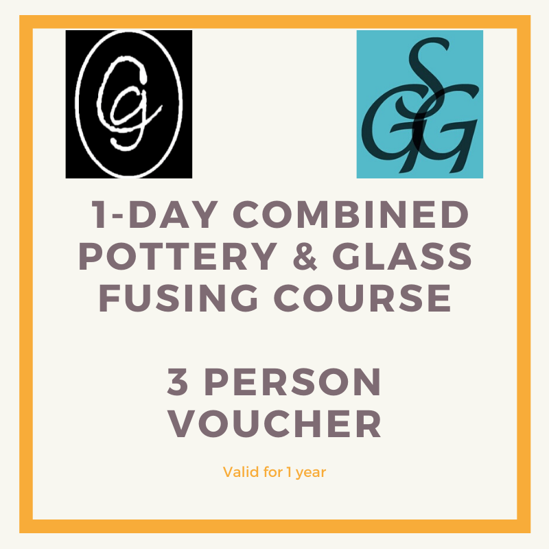 1-day Combined Pottery & Glass Fusing Course for 3 people