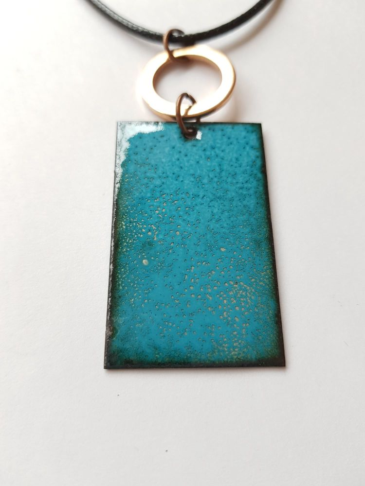 Teal blue with silver speckles necklace