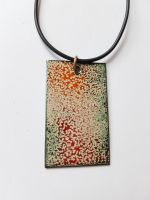 Deep red, burnt orange and speckled cream necklace