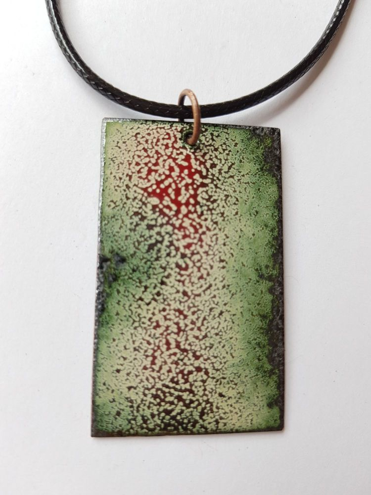 Deep red and speckled cream necklace
