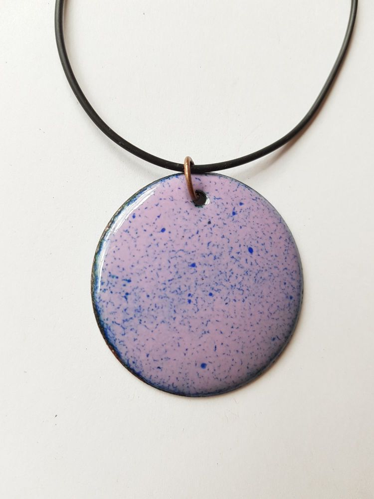 Mauve with royal blue speckles necklace