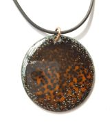 Burnt orange with black necklace