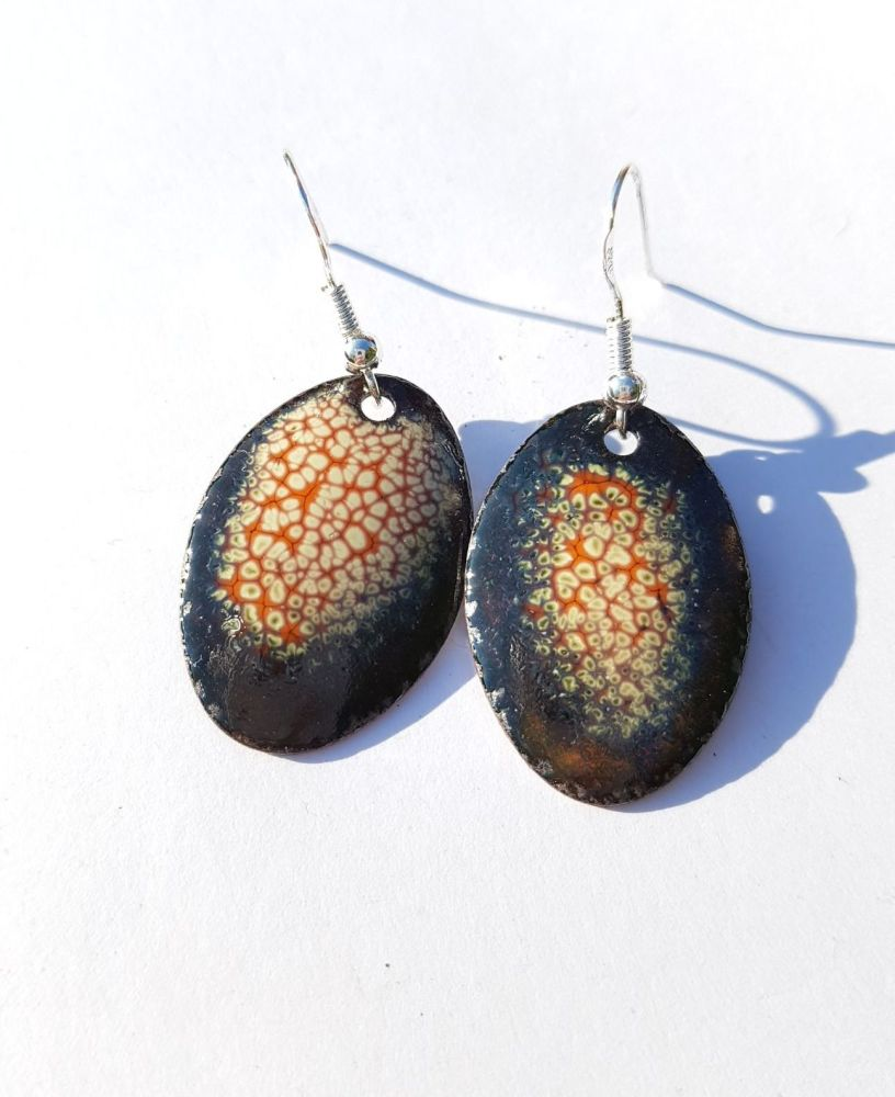 Burnt orange and cream earrings
